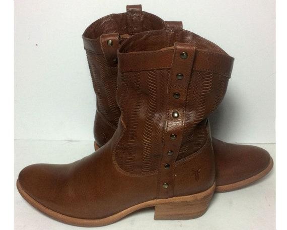 Frye 77036 korte cut spleet zacht bruin leer Westerse Cowboy Cowgirl laarzen vrouwen maat 7
