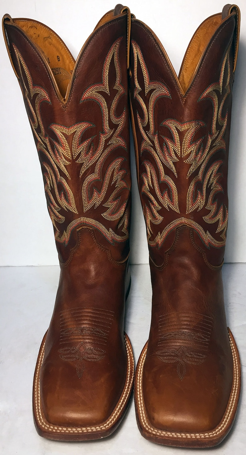 c7b79a62aac JUSTIN Brown Leather Square Toe Western Cowboy Boots Men's Size 11 B  (Narrow)