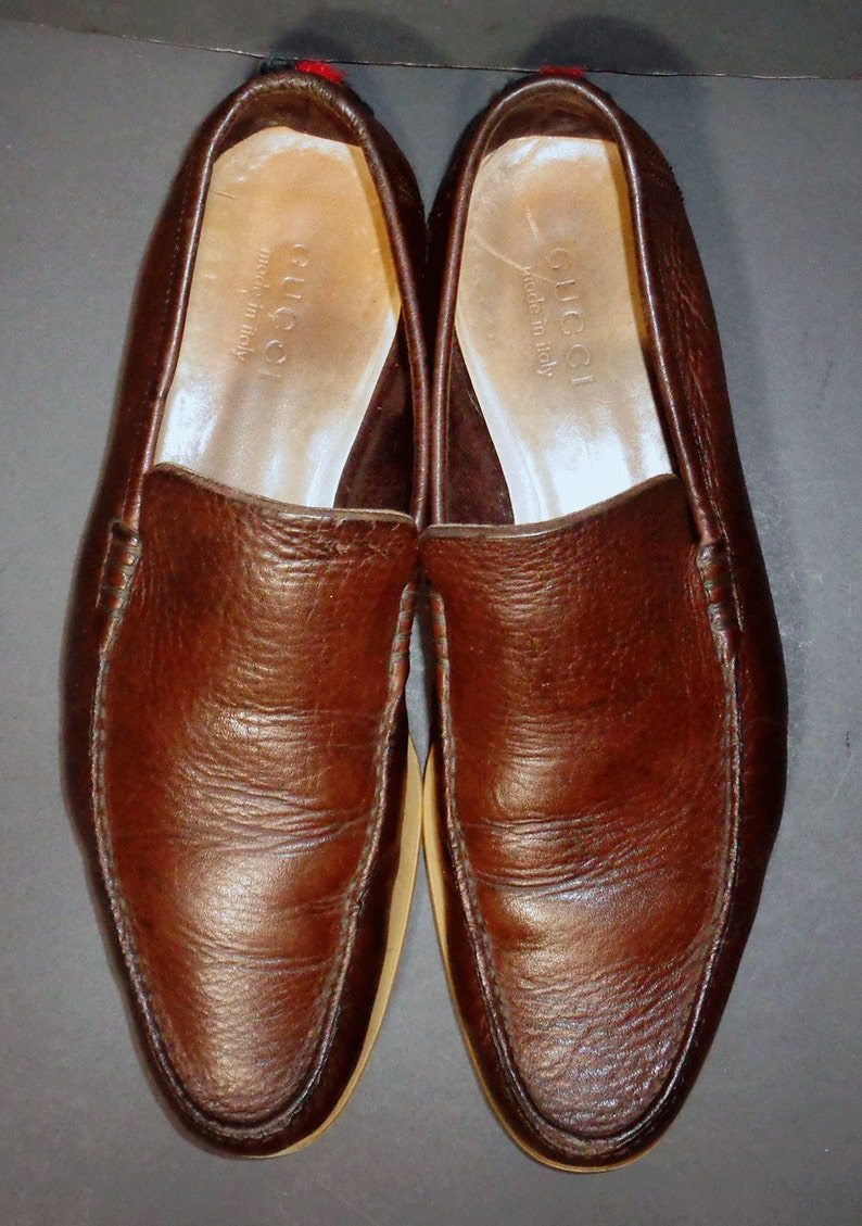 f775979a930 GUCCI Brown Leather Loafers Men s Shoes Size 9.5