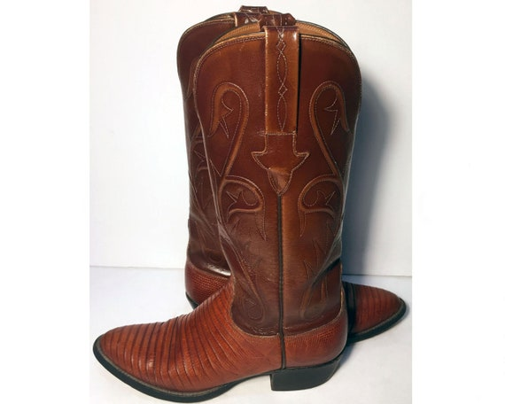 5.5 uk 37 euro 6.5 us LUCCHESE Brown Leather Western Cowgirl Boots Women Country Cowboy Riding Lady Made in USA Vintage Boots