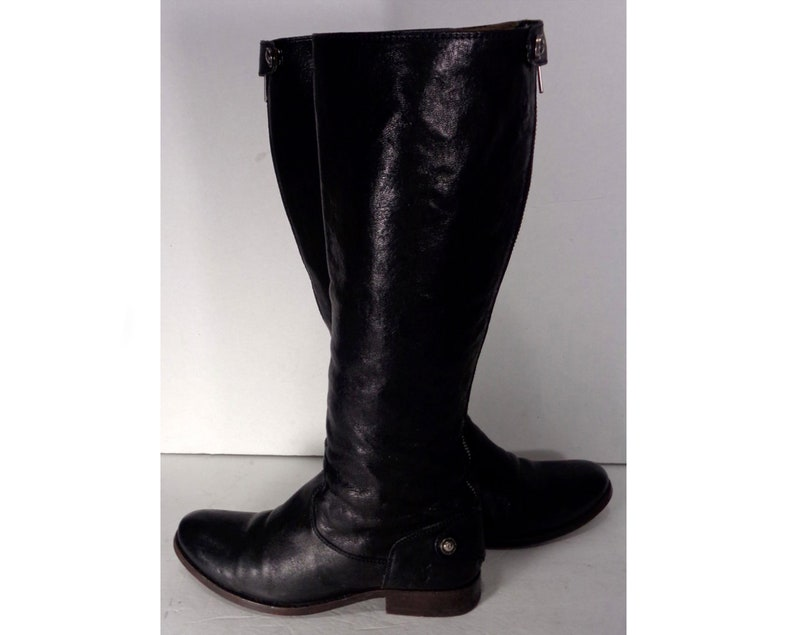 Melissa Button Black Boots Taille Frye 6 Motorcycle Leather Femme Zip Retour 8mNOvwn0