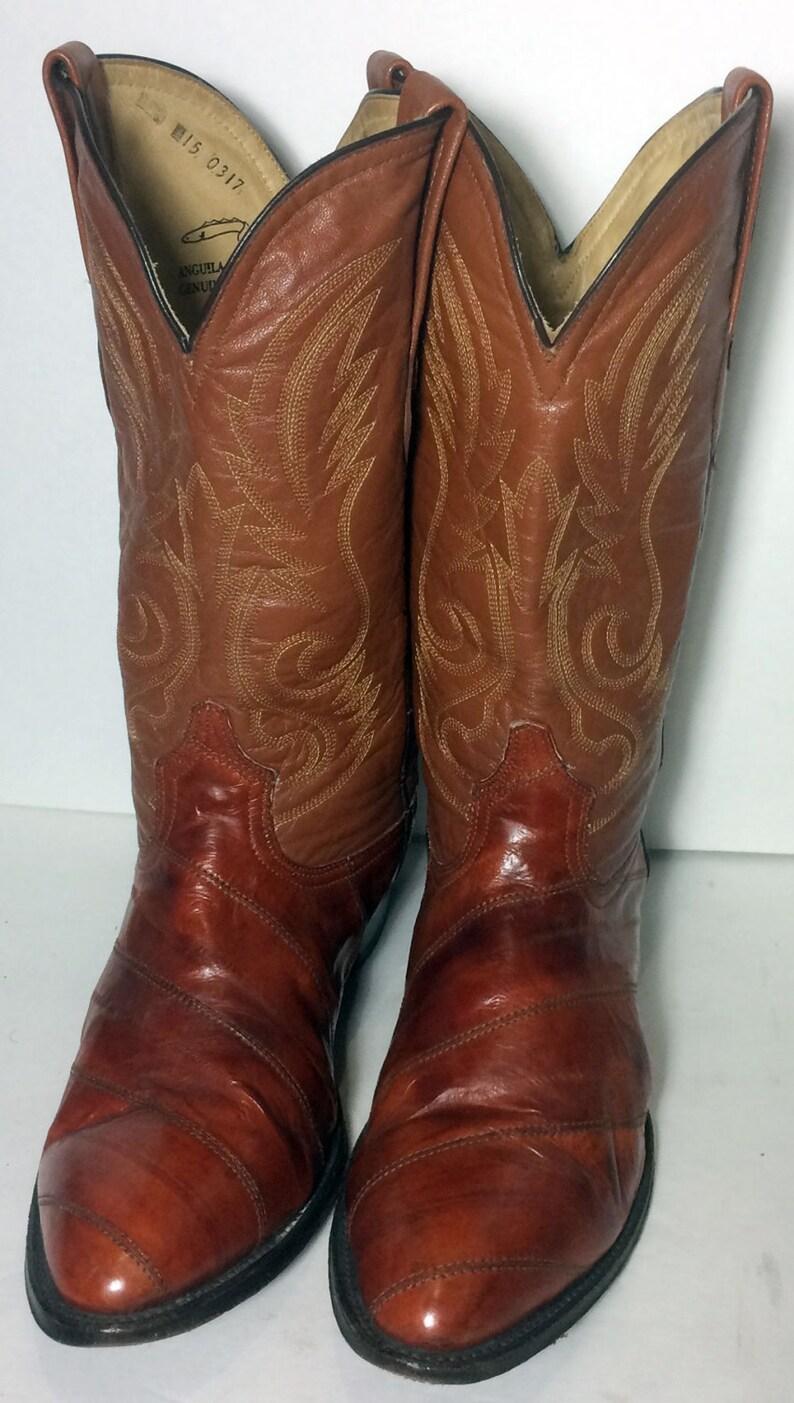 11b730dfc6 Piel de Anguila marrón Vintage talla de cuero exótico vaquero
