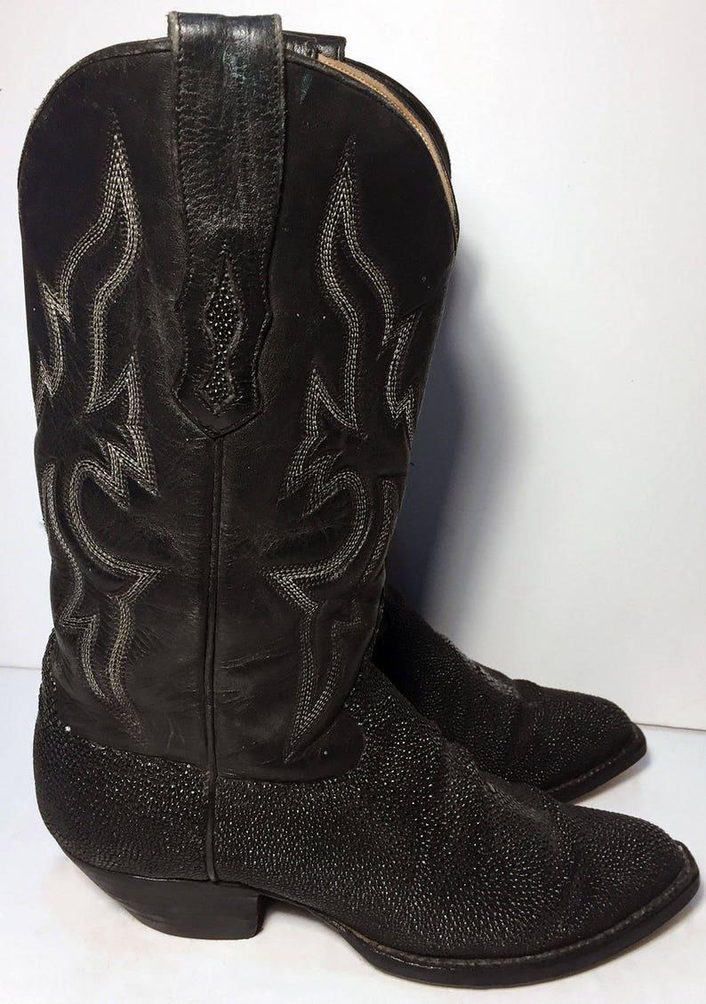 04b096fbf5bcf Black Leather Stingray Exotic Cowboy Cowgirl Western Boots Women's Size 7 B