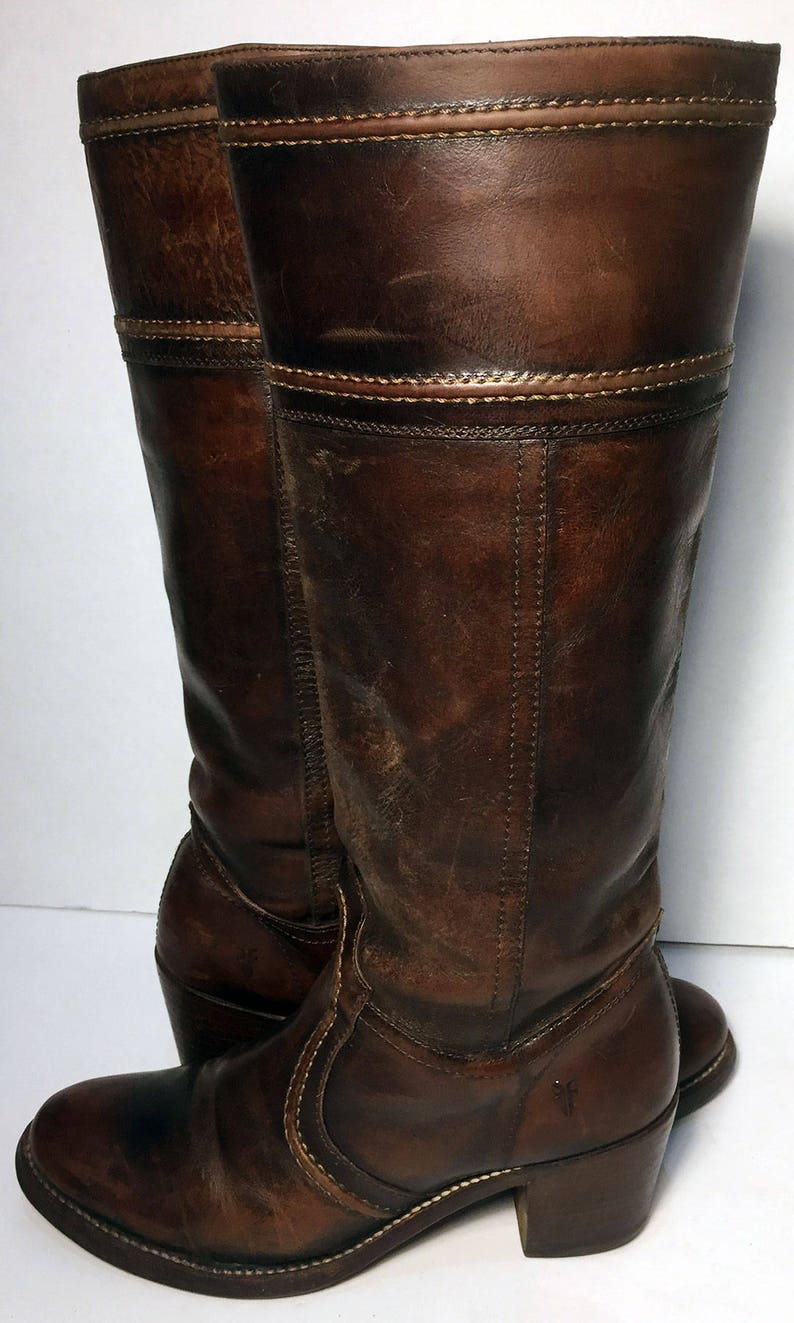 Frye 77231 Jane Brown Leather Riding Motorcycle Boots Etsy