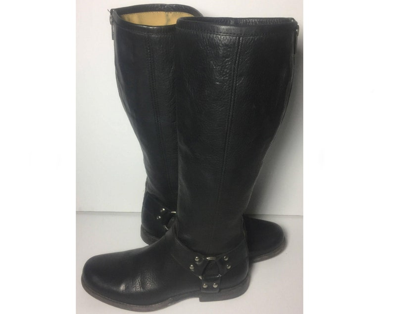 fa370ce835c Frye 76850 Phillip Harness Tall Black Leather Biking Riding Motorcycle  Boots Women's Size 7.5