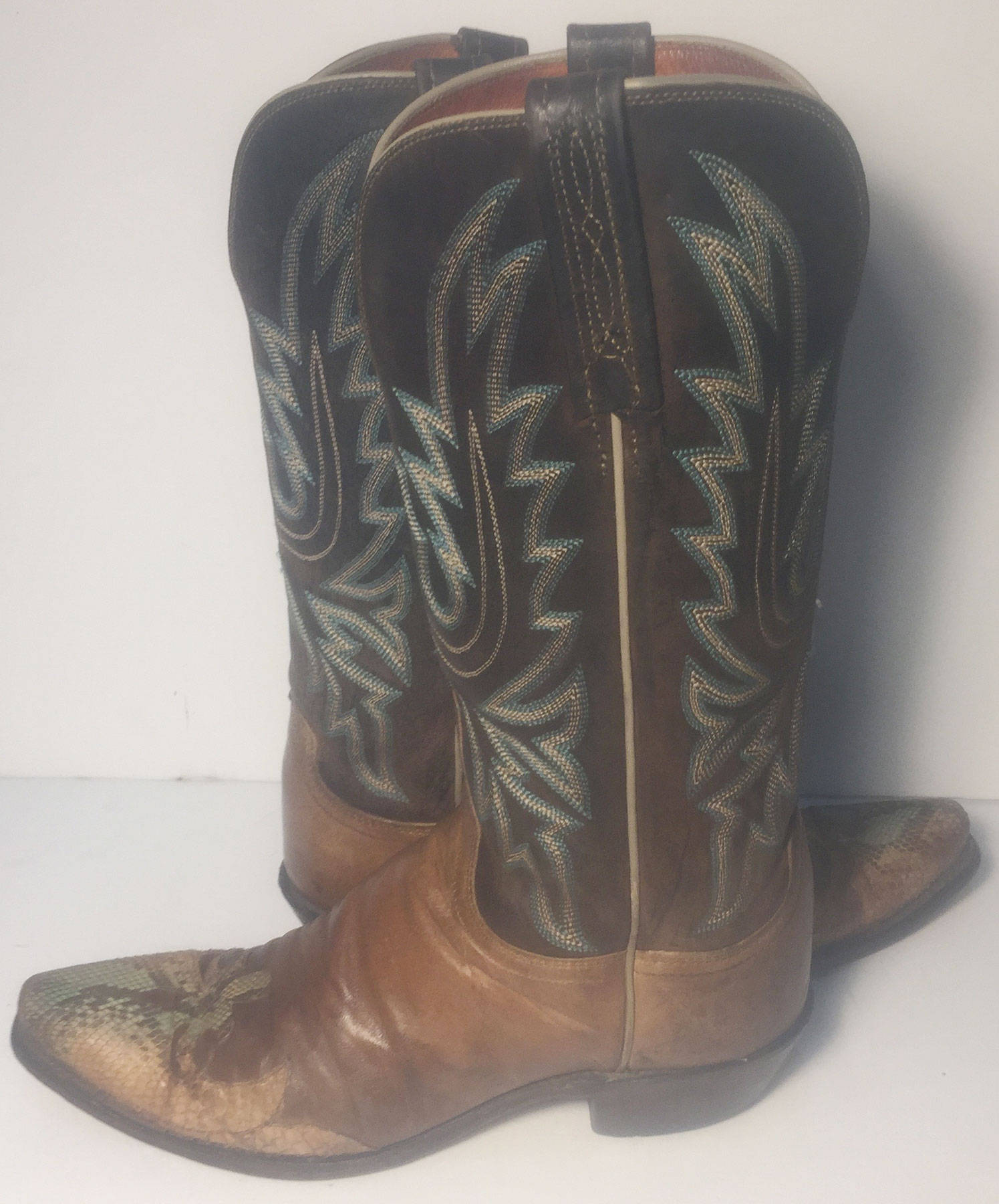 6d45c1344af Lucchese 1883 Brown Leather Green Lizard Skin Western Cowgirl Boots Women's  Size 7.5