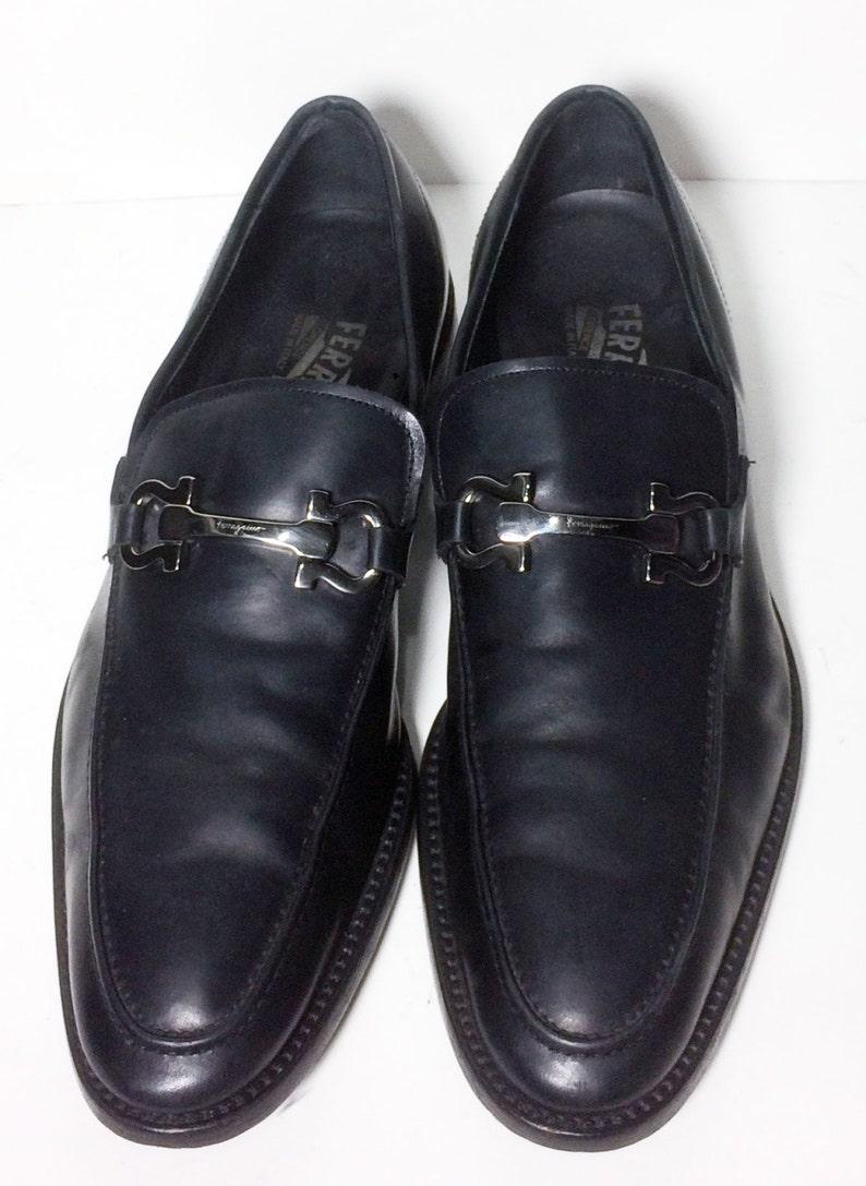 60dd2d93385 SALVATORE FERRAGAMO Black Penny Loafers Men s Shoes Size