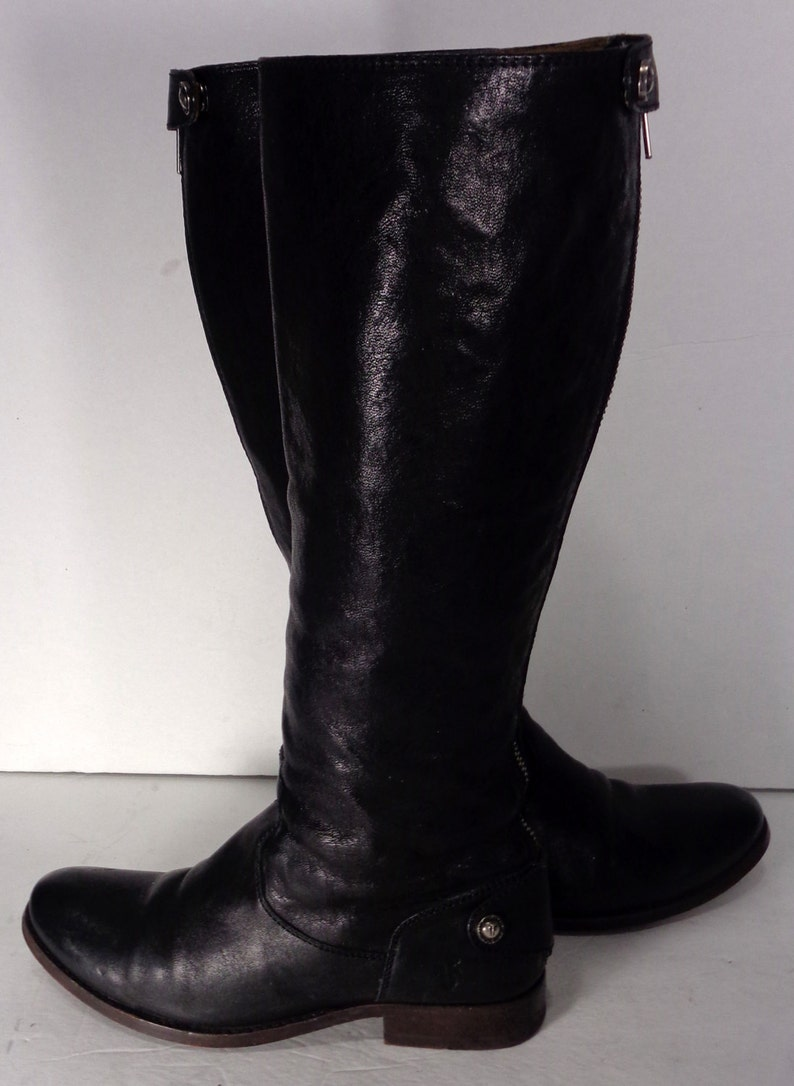 f8149e971916 Frye Melissa Button Back Zip Black Leather Motorcycle Boots