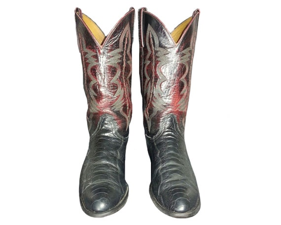 LUCCHESE Cherry Black Ostrich Leg Cowboy Boots Men