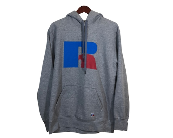 RUSSELL ATHLETIC Gray Cotton Hoodie Men's Size L