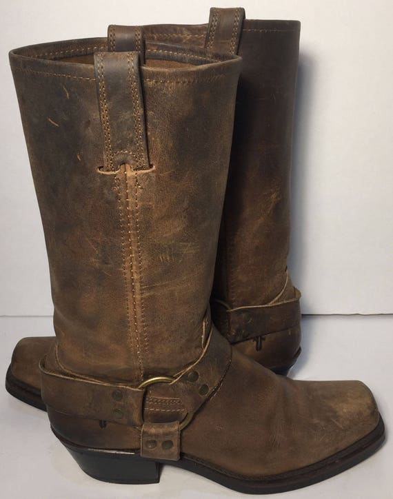 Frye 77300 Harness Brown Leather Motorcycle Boot 12r | Etsy