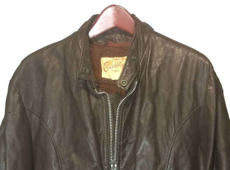 a3e5d76a7 EXCELLED Brown Leather Vintage Cafe Racer Motorcycle Jacket