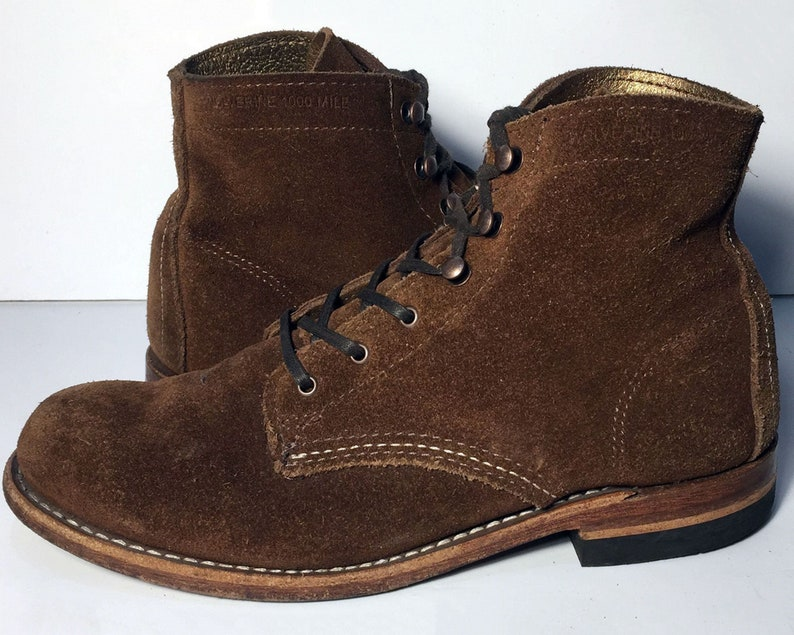 75a170dfd6b 7.5 us || 38 euro || 6.5 uk || Wolverine 1000 Mile Brown Suede Work Combat  Military Boots Women's Size 7.5 || Lace Up Chukka Desert boots