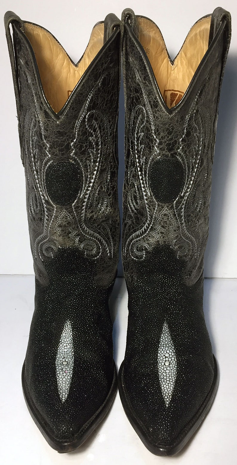 7bb8692ac400f 10 US || 43 Euro || 9.5 UK || Black Stingray Cowboy Western Boots Men ||  Size 10 EE (Wide Width) Exotic Leather Country Vintage Boots