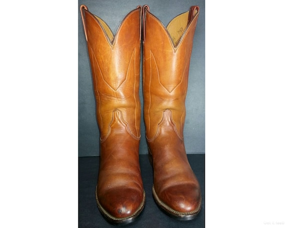 bf837df8cf8 LUCCHESE 1883 Brown Leather Cowboy Western Boots 6304 Men's Size 7.5
