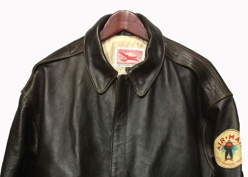 65bf24fb4ff AVIREX A-2 Vintage 90 s Brown Leather Bomber USPS Air Mail