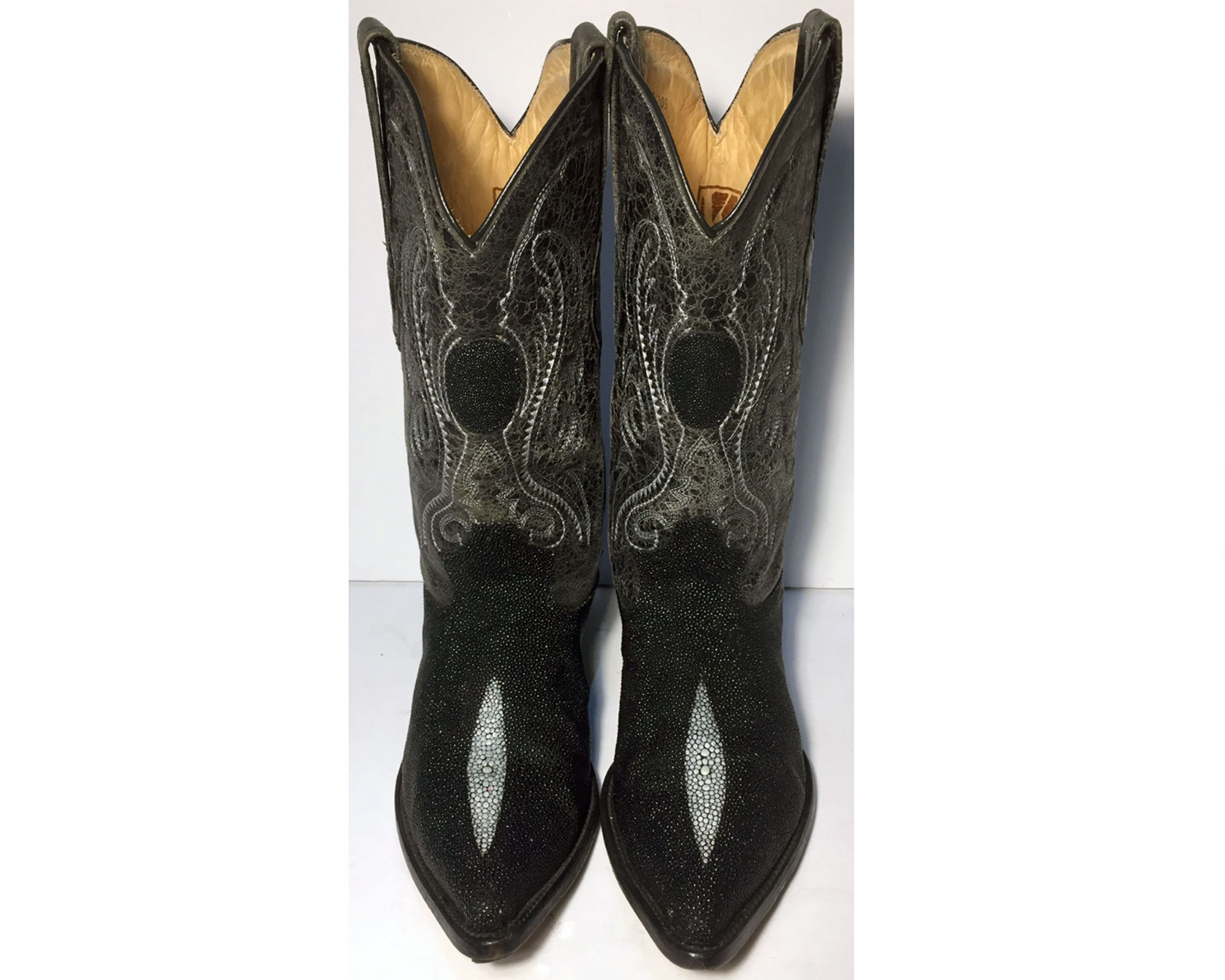 f0cb8840bbb 10 US || 43 Euro || 9.5 UK || Black Stingray Cowboy Western Boots Men ||  Size 10 EE (Wide Width) Exotic Leather Country Vintage Boots