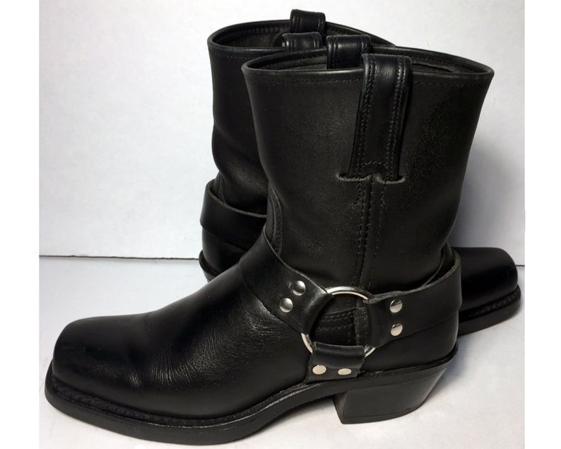 4df575fe4b4 6.5 US || 37 Euro || 4.5 UK || Frye 77455 Harness 8 R Black Leather Pull On  Riding Biker Motorcycle Boots Women || Ankle Boots Made In USA