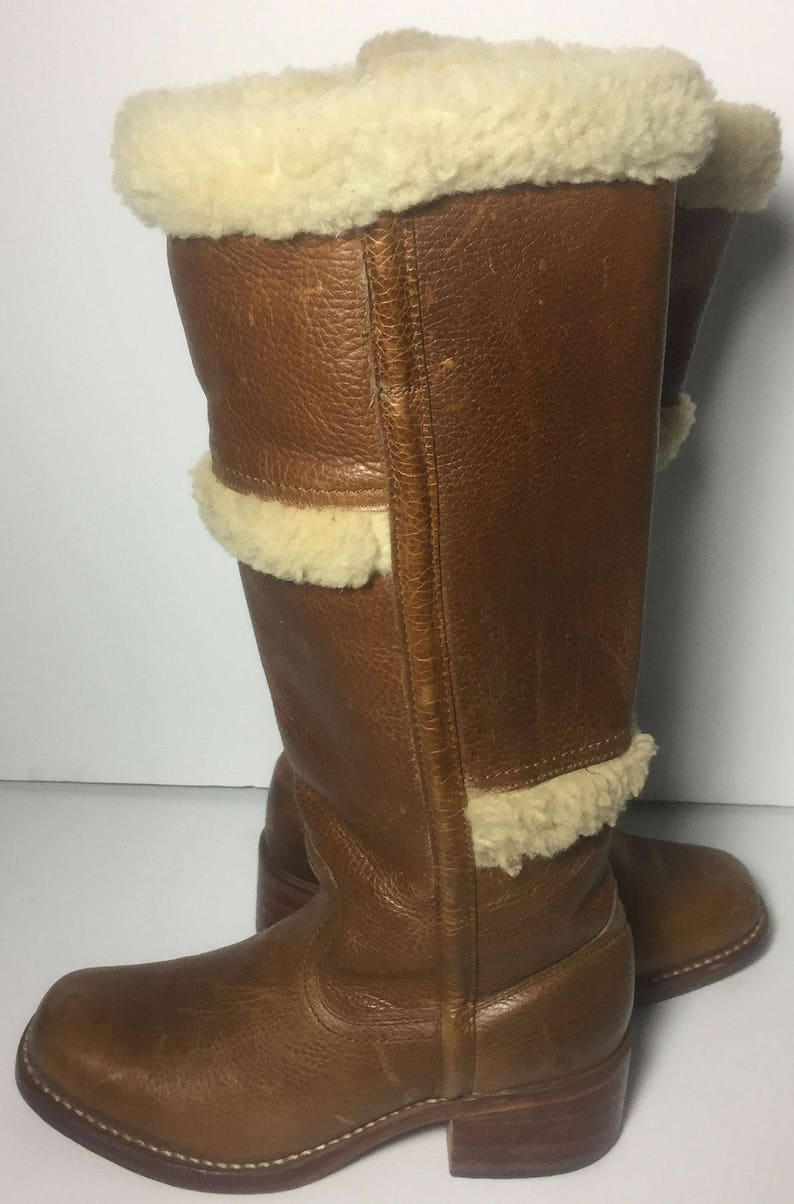 4e2fa119db39 Frye 77025 Campus Shearling Fur Brown Leather Motorcycle Boots