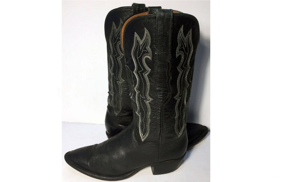 bd4c4d80c35 7.5 us || 38 euro || 6.5 uk || Lucchese 1883 Black Leather Western Cowgirl  Cowboy Boots Women || Country Riding Lady Vintage Made in USA