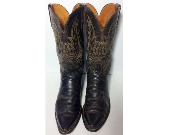 STIVALI PELLE COWBOY texani vintage FRYE originali marrone