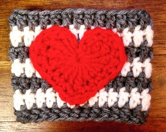 Coffee Cozy Crocheted (with heart)