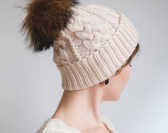 e23439f29dbe2 Women s Knit Hat   Winter Cashmere Hat   Cashmere Hand Knit Hat   Wedding Winter  Hat   Women s Winter Hat   Beige Wool Hat