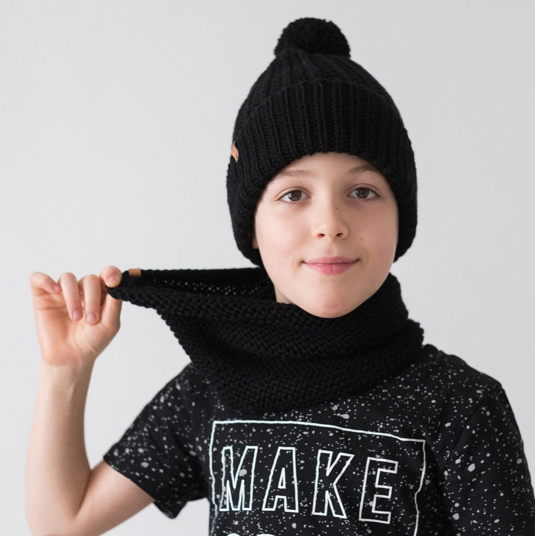 ec4a2492f94 custom color winter hat scarf boys girls hat cowl boys knit cowl hat  matching snood and beanie black hat scarf snood boys winter set.