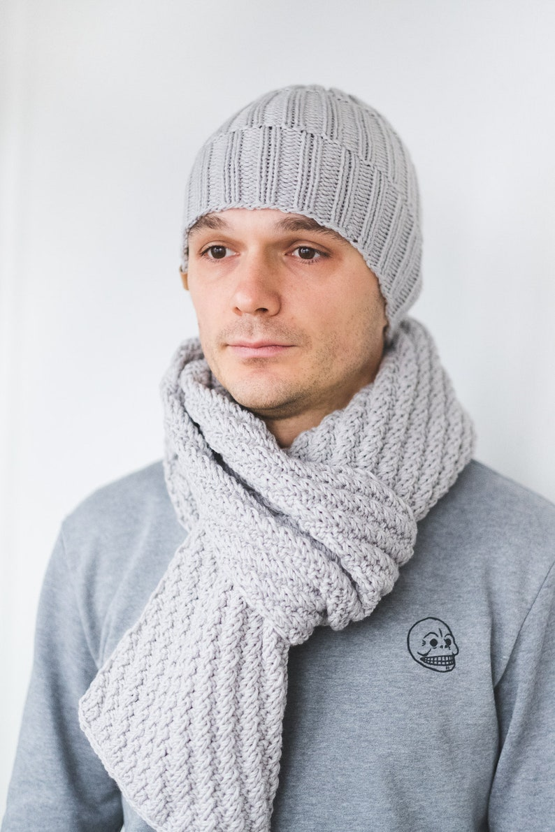 CUSTOM Color Mens Winter Set Wool Hat Scarf for Man gift for  7f289dd7048