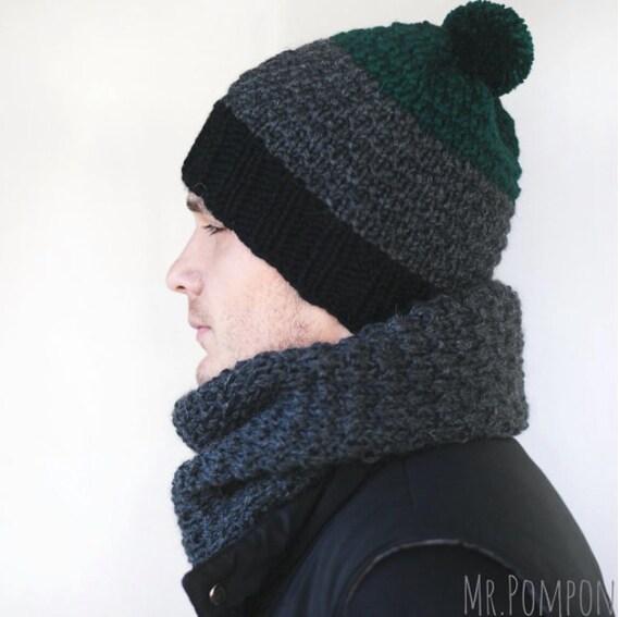 Men s winter Hat Scarf Wool Men s Hat Snood mens  1314fbf7e63
