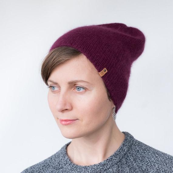 Angora hat angora beanie Angora knit hat Winter slouchy  b28e9e10245