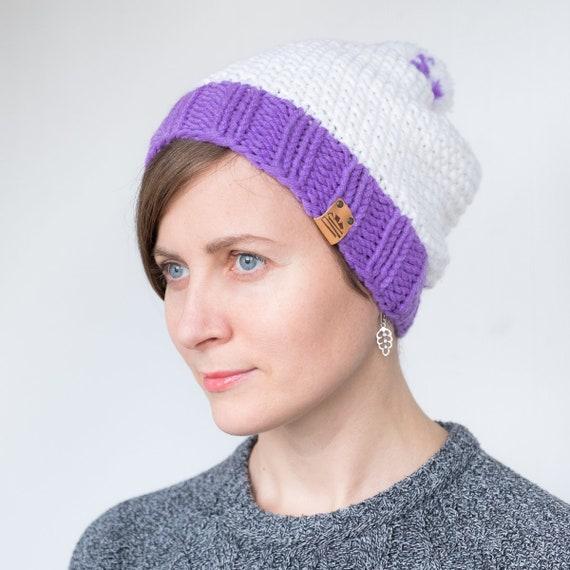 Womens winter Hat Purple beanie womens wool hat white knit  a5694f24eed