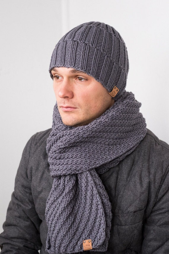 CUSTOM Color Mens Winter Set Wool Hat Scarf for Man gift for  6a7815bc409