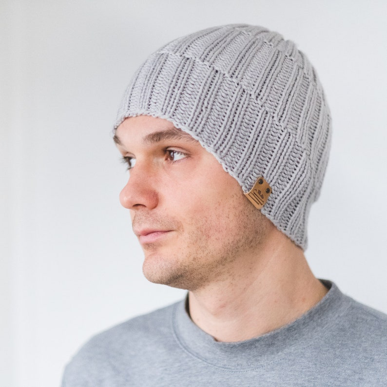 32ff8be0660 CUSTOM color Men s Knit Beanie Winter Wool Man Hat Light