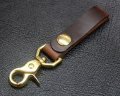 Horween Chromexcel brown leather belt loop keychain, leather key fob, solid brass snap key chain