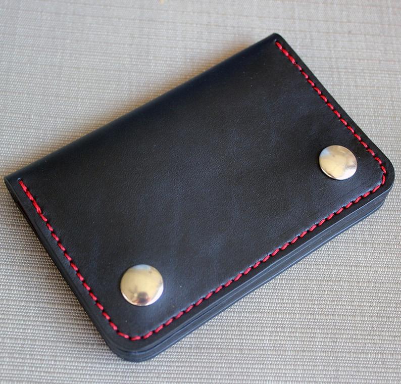 Chain wallet biker wallet mens leather wallet small biker Black + Red thread