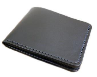 Black leather wallet, full grain vegetable tanned leather, mens wallet, monogrammed wallet, personalized leather bi-fold wallet
