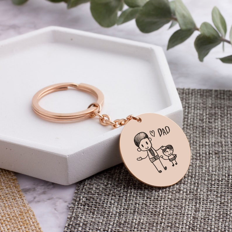 30mm Hand Script Keychain for Husband Gift Custom Drawing Picture Key Chain Remembrance Keepsake Gift for Groomsman Actual Kid Art Artwork