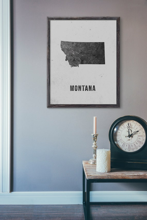 Montana Map Print Black and White Modern Map Poster US | Etsy
