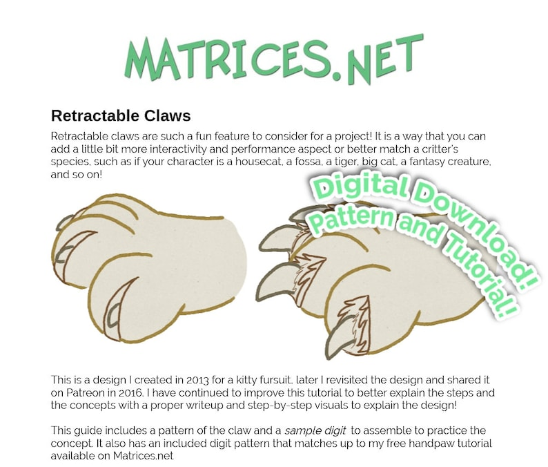 Pattern and Tutorial: Retractable Claws for Fursuits image 0