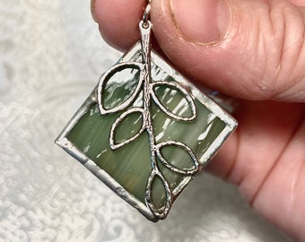 Fall Leaf Necklace - Stained Glass Pendant