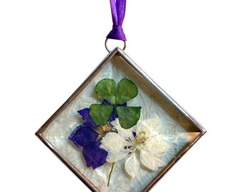 Real Four Leaf Clover with Stained Glass - Sun Catchers - Ornaments - Window Hangings