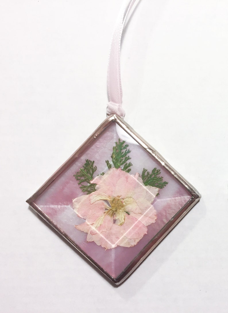Pressed Flower Sun Catchers  Stained Glass Ornaments   Sold image 0