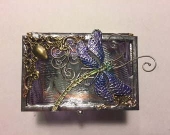 Jewelry Gift Box - Ring Box - Dragonfly Themed Gift - Victorian Stained Glass Box