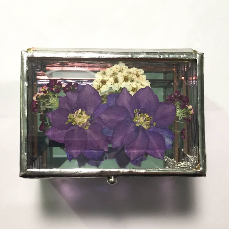 Bridesmaid Stained Glass Box  Jewelry Gift Box  Ring Box  image 0