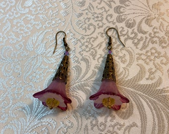 Floral Earrings - Trumpet - Crystals - Handpainted Lucite - Victorian - Rose Color