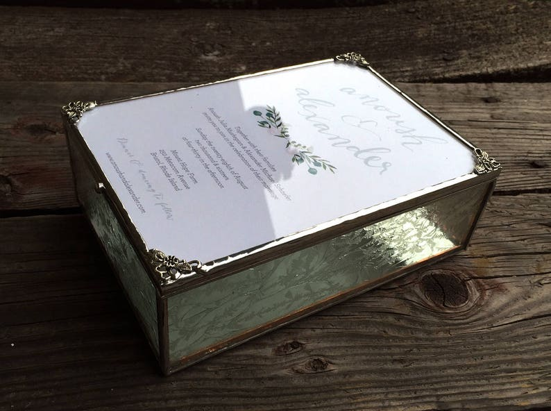 Stained Glass Invitation Keepsake Box for Wedding Bride To image 0