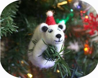 Felted Polar Bear Arctic Animal Christmas Tree Ornament (with Santa hat)