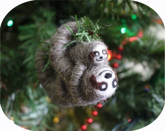 Felted 3-Toed Sloth with Baby South American Animal Christmas Tree Ornament