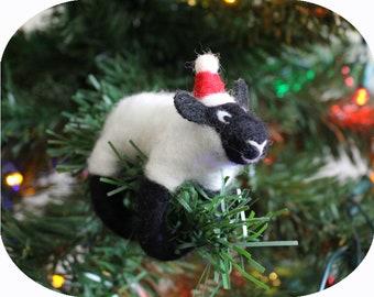 Felted Bleu du Maine Sheep European Animal Christmas Tree Ornament (with Santa hat)